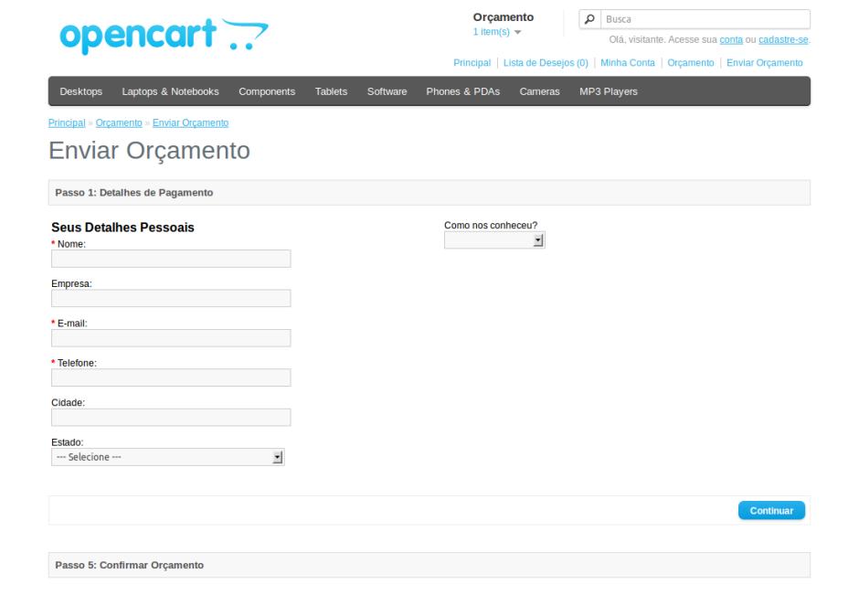 Passo 1 checkout orçamento OpenCart