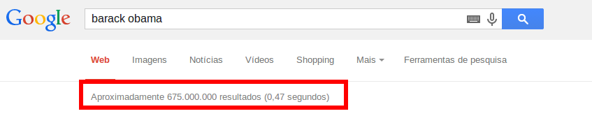 Velocidade de busca do Google