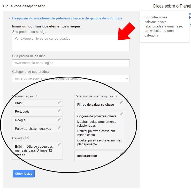Google AdWords Planejador de palavras-chave